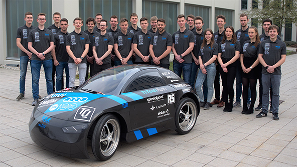 "TUfast eco team of TU Munich presents the autonomous high-efficiency racing vehicle ""muc019"" supported by TTTech Auto"